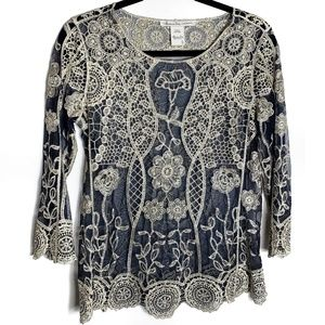American Rag Cie Embroidered Lace Overlay Top